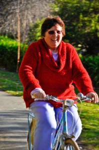 Yvonne, my herbalist friend, on her bike