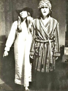 Me and my flatmate in 1970 - I have no idea why we decided to get ourselves togged out in nightwear or why I decided to pop a tea cosy on my head and look totally mad!