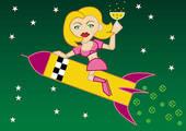 Woman riding champagne rocket